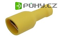 Zdířka faston 6.3mm izol., vodič 4.0-6.0mm žlutá