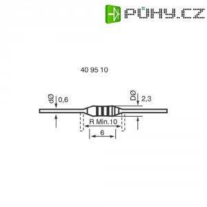 Uhlíkový rezistor, 47 kΩ, 0207, axiální vývody, 0,25 W, 5 %