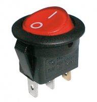 Přepínač kolébkový kul. pros. 2pol./3pin ON-OFF 250V/6A červený