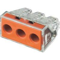 Krabicová svorka Wago, 773-173, 2,5 - 6 mm², 3pólová, transparentní/červená, 50 ks