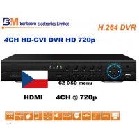 4CH HD-CVI rekordér EN-8104, 720p, české menu