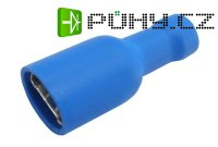 Zdířka faston 6.3mm izol., vodič 1.5-2.5mm modrá