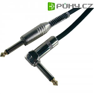 Instrumentální kabel lomený JACK 6,3 mm Paccs, 6 m, černá
