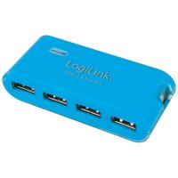 USB 2.0 hub s adaptérem LogiLink, 4-portový, modrý