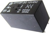 Relé CHENGYUAN - CY115F(JQX-115F) 12VDC, kontakty 250V/ 2x8A