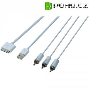 USB kabel Apple Dock AV Digitus, db-600101-015-w, 1,5 m, bílá
