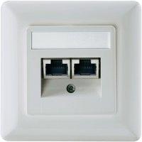 Datová zásuvka s krytem Setec, CAT 5e, 2x RJ45, bílá