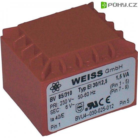 Transformátor do DPS Weiss Elektrotechnik EI 30, prim: 230 V, Sek: 12 V, 125 mA, 1,5 VA - Kliknutím na obrázek zavřete