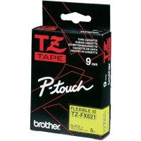 Páska do štítkovače Brother TZe-FX621, 9 mm, TZe-FX, TZ-FX, 8 m, černá/žlutá