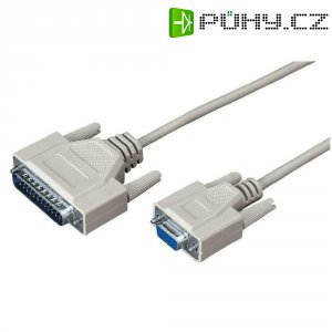 Sériový kabel RS-232, D-Sub 25pól. zástrčka  D-Sub 9pól. zásuvka, 1,5 m