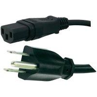Síťový kabel Hawa, 1008247, zástrčka (USA)  IEC zásuvka, 2 m, černá