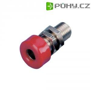 Laboratorní konektor Ø 4 mm, zásuvka vestavná vertikální, červená