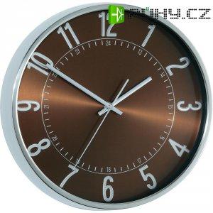 Analogové DCF nástěnné hodiny Metall, Ø 30 x 4,5 cm, hliník, hnědá
