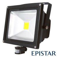 LED reflektor venkovní s PIR 50W/4000lm EPISTAR, MCOB, AC 230V, černý