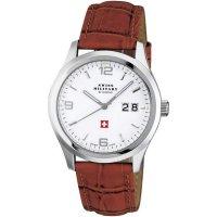 Ručičkové náramkové hodinky Swiss Military, 20009ST-2L, pánské, kožený pásek, hnědá