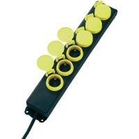 Zásuvková lišta bez spínače, 6 zásuvek, IP44, černá/žlutá