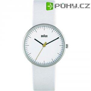 Ručičkové náramkové hodinky Braun 66526, dámské, kožený pásek, bílá