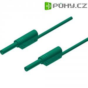 Měřicí kabel banánek 2 mm ⇔ banánek 2 mm SKS Hirschmann MVL S 50/1 Au, 0,5 m, zelená