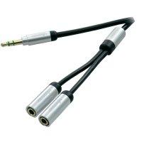 Připojovací kabel Vivanco, jack zástr. 3.5 mm/jack zás. 3.5 mm, černý, 0,2 m