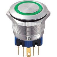 Tlačítko antivandal bez aretace TRU COMPONENTS GQ22-11E/G/12V, 250 V/AC, 5 A, nerezová ocel, 1x zap/(zap), zelená
