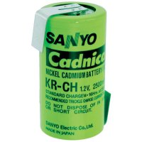 Akumulátor NiCd Sanyo C s pájecími kontakty, 2500 mAh, pro vyšší teploty