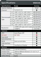 Teploměr MASTECH MS6514 duální, USB, datalogger