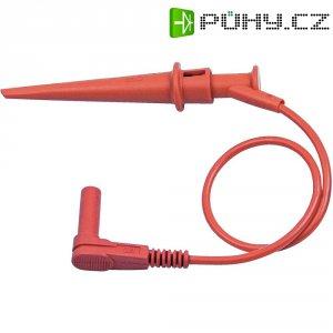 Měřicí kabel banánek 4 mm ⇔ svorka s háčkem MultiContact XLWH-480, 1,2 m, červená