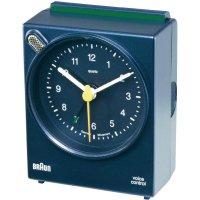 Analogový budík Braun voice control, 660084, 34 x 63 x 76 mm, modrá