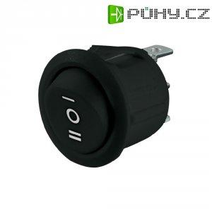 Kolébkový spínač, s aretací, 250 V/AC, 6 A, zap/vyp/zap, černá