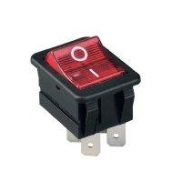 Kolébkový spínač Arcolectric C1353VBNA, 2x vyp/zap, 230 V/AC, 16 A, červená/černá