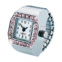 Ručičkové prstýnkové hodinky Quartz, stříbrná