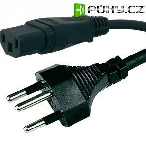 Síťový kabel Hawa, 1008243, zástrčka (Švýcarsko)  IEC zásuvka, 2 m, černá