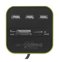 HUB 3x USB + čtečka paměťových karet zelený
