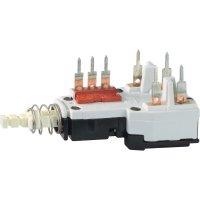 Kolébkový spínač, tlačítkový spínač s aretací Potentiometer Service GmbH TYP2, 250 V/AC, 2.5 A, bílá, 2x vyp/zap