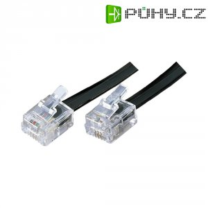 Telefoní kabel Western RJ11, 6/4, 10 m, černá
