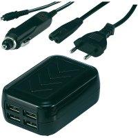 USB nabíječka Voltcraft USB Power Set, 4x USB, s kabelem do autozásuvky/230V
