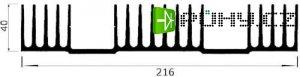 Chladič Al ZH1929 216x40x70mm