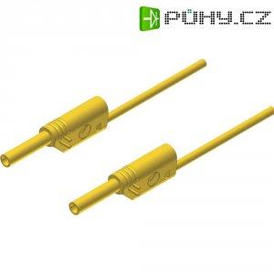 Měřicí kabel banánek 2 mm ⇔ banánek 2 mm SKS Hirschmann MVL S 25/1 Au, 0,25 m, žlutá