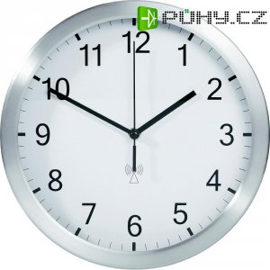 Analogové DCF nástěnné hodiny TFA 98.1091.02, Ø 25 x 4 cm, hliník, bílá