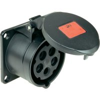 CEE zásuvka 315-6x PCE, rovná, 16 A, IP44, černá