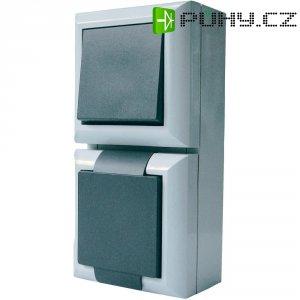 Kombinace vypínače a zásuvky Schuko s krytem GAO Business-Line, 9171, IP54, šedá