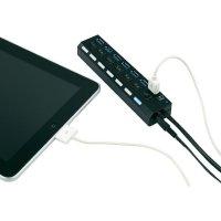 USB 3.0 hub, přepínatelný s iPad nabíječkou a adaptérem, 7-portový