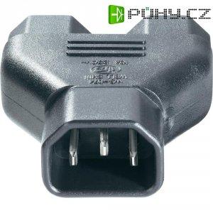 Rozbočovač pro IEC konektory C14 10 A BKL 73330, adaptér rovný, černá