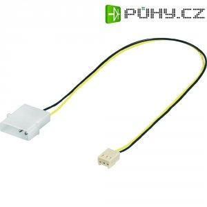Napájecí kabel k ventilátoru, 1x IDE zásuvka 4pól ⇔ 1x PC zásuvka 3pól, 10 cm