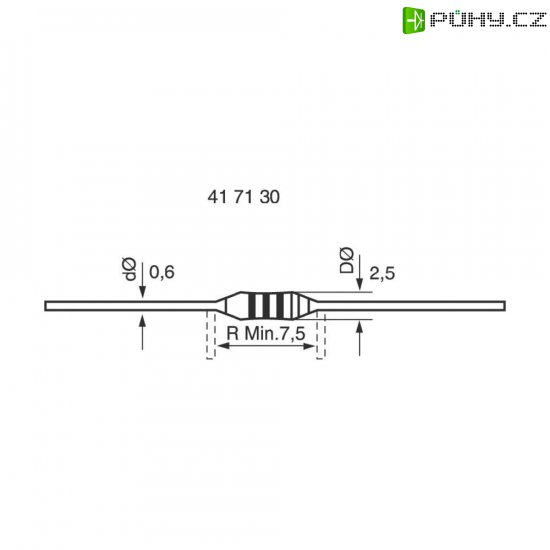 Metalizovaný rezistor, 0,36 Ω , 5 %, 0207, axiální vývody, 0,6 W - Kliknutím na obrázek zavřete