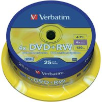 Verbatim DVD+RW 4,7GB 4X 25 ks cake box