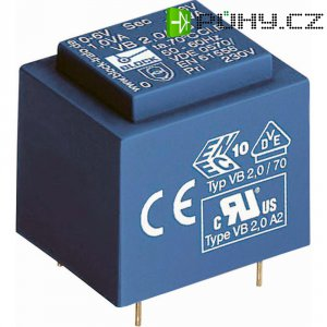 Transformátor do DPS Block EI 38/13,6, 230 V/2x 24 V, 2x 66 mA, 3,2 VA