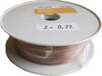 Kabel 2x0,22mm2 24AWG průhledný, cívka 100m