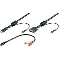 HDMI, DVI, Cinch, kabel s jack konektorem 3,5 mm, DVI zástrčka 18+1pol., černá