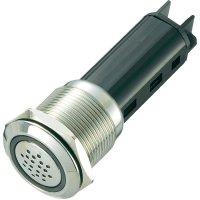 Sirénka / kontrolka, 80 dB 24 V / DC, 19 mm, červená/stříbrná